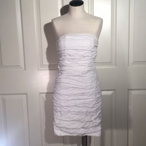 White floral lace strapless mini dress